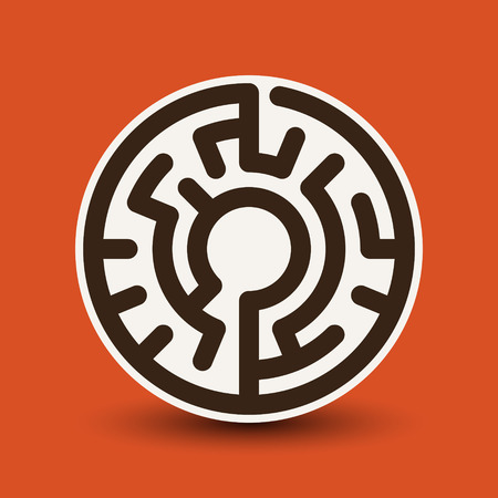 brain game: attractive circular maze isolated on bright orange background