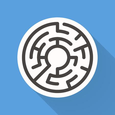 laberinto: atractivo laberinto circular aislado en fondo azul brillante
