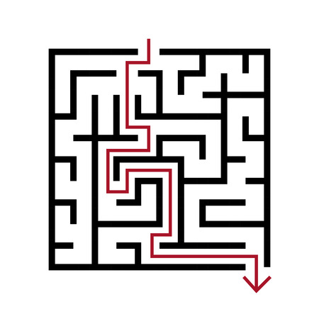 brain teaser: simple square maze isolated on white background Illustration