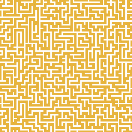 brain teaser: close-up look at complex square maze isolated on yellow background