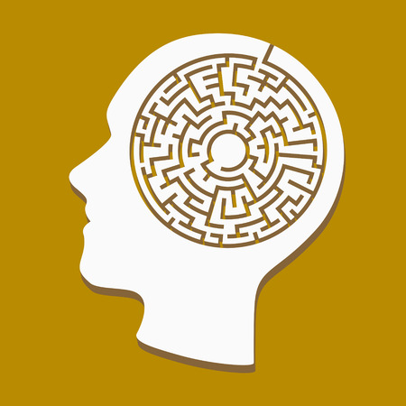 labyrinth: silhouette of heads with a labyrinth inside over brown background Illustration