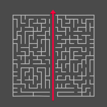 break through: modern square maze isolated on dark background