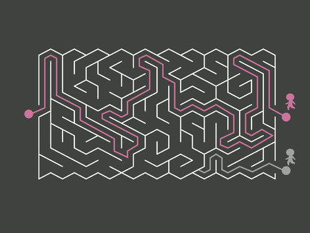 riddles: trendy hexagon maze isolated on dark background