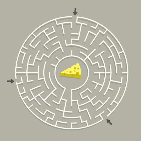 灰色の背景に分離されたチーズと素敵な円形の迷路