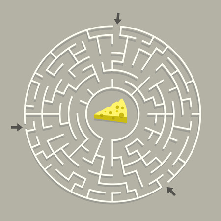 lovely circular maze with cheese isolated on grey background