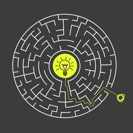 lighting bulb: lovely circular maze with lighting bulb isolated on dark background