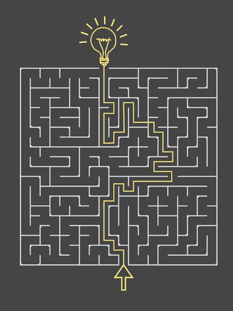 lighting bulb: lovely square maze with lighting bulb isolated on dark background