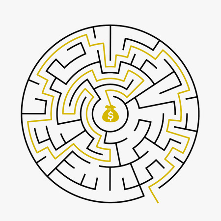 riddles: simple circular maze with prize icon isolated on white background Illustration
