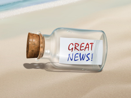 great news message in a bottle isolated on beautiful beach