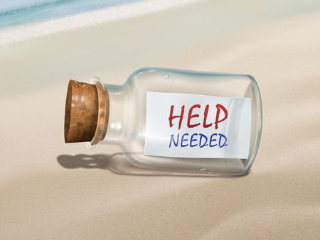 needed: help needed message in a bottle isolated on beautiful beach Illustration