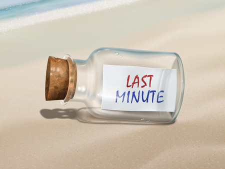 message in the bottle: last minute message in a bottle isolated on beautiful beach