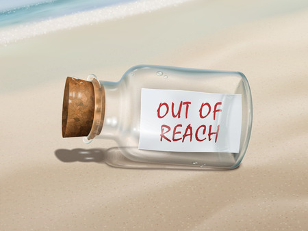 reach out: out of reach message in a bottle isolated on beautiful beach