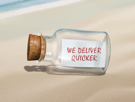quicker: we deliver quicker message in a bottle isolated on beautiful beach