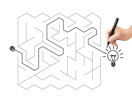 creative maze with lighting bulb isolated on white background Vector