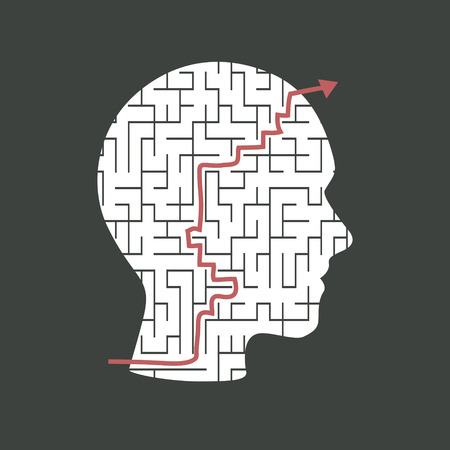 brain puzzle: innovative head shape maze isolated on dark background