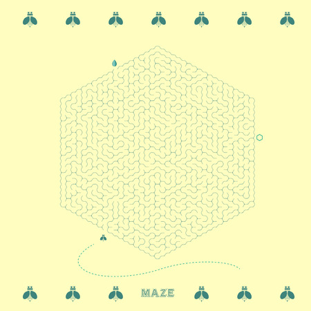 lovely hexagon maze with bee element isolated on yellow background Vector
