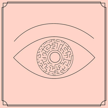complexion: innovative circular maze in eye isolated on complexion background Illustration