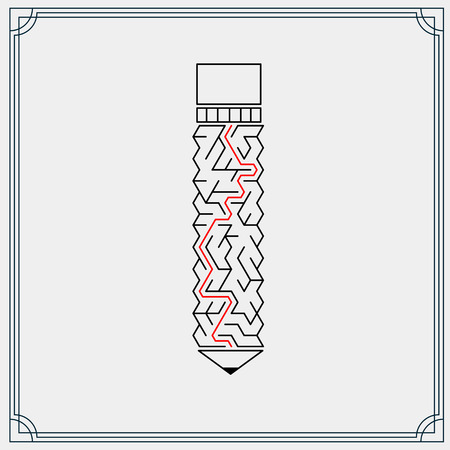 creative pencil shaped maze isolated on grey background Vector