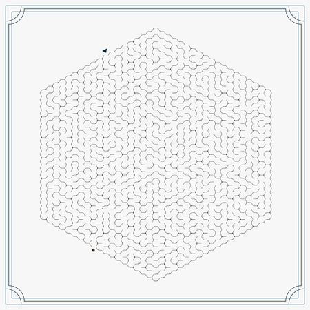 teaser: modern hexagon maze isolated on grey background