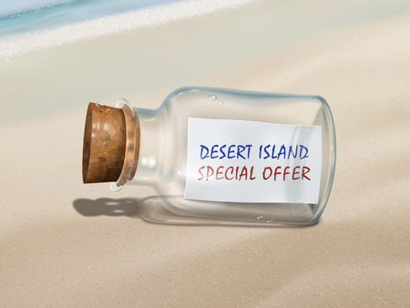 desert island: desert island special offer message in a bottle isolated on beautiful beach Illustration