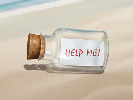 help me: help me message in a bottle isolated on beautiful beach Illustration