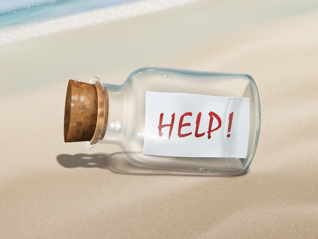 find us: help message in a bottle isolated on beautiful beach Illustration