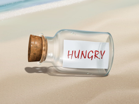 cry for help: hungry message in a bottle isolated on beautiful beach