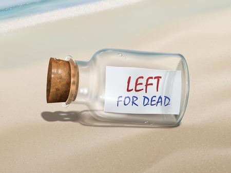 pressure bottle: izquierda para el mensaje muertos en una botella aislada en la hermosa playa Vectores