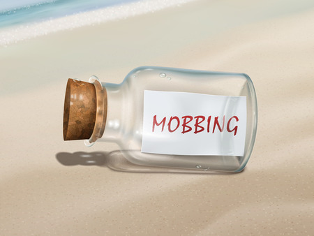 threat of violence: mobbing message in a bottle isolated on beautiful beach Illustration