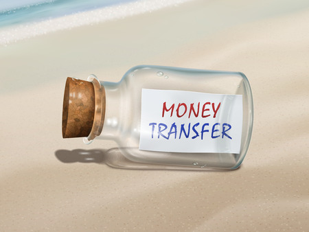 message in the bottle: money transfer message in a bottle isolated on beautiful beach Illustration