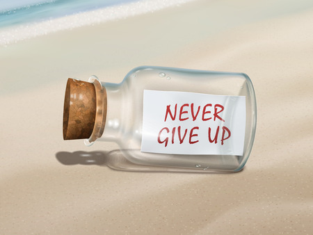 uplifting: never give up message in a bottle isolated on beautiful beach