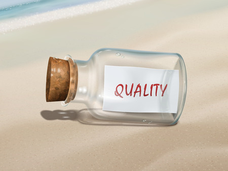 assurance: quality message in a bottle isolated on beautiful beach Illustration
