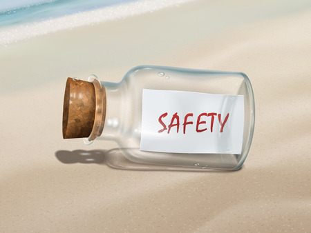safely: safety message in a bottle isolated on beautiful beach