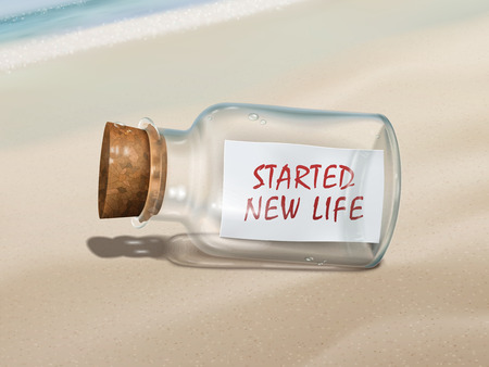 new life: started new life message in a bottle isolated on beautiful beach