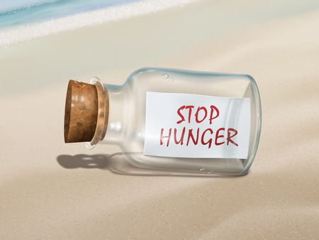 starvation: stop hunger message in a bottle isolated on beautiful beach Illustration