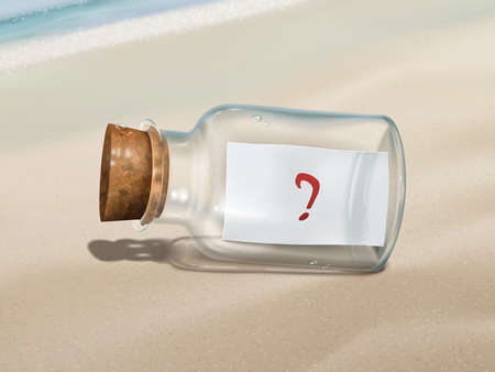 sea mark: question mark message in a bottle isolated on beautiful beach