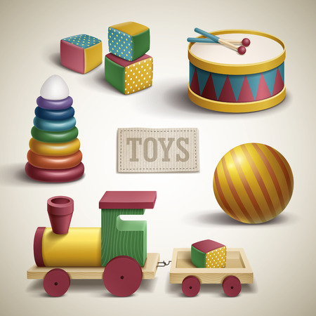 shop floor: exquisite colorful toys set isolated over beige background