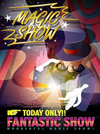 fantastic magic show poster with mystery magician Vector