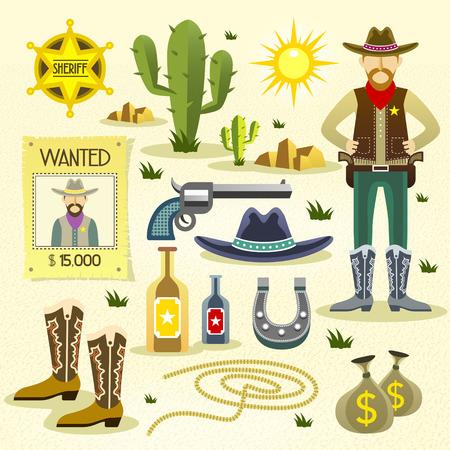 vaquero: iconos planos vaquero occidentales conjunto aislado sobre el fondo del desierto