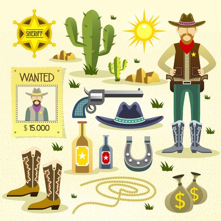 cowboy gun: western cowboy flat icons set isolated over desert background