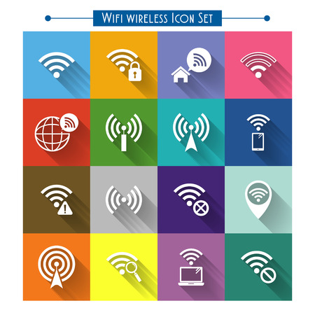 transmitting device: wifi wireless icons set isolated over colorful background