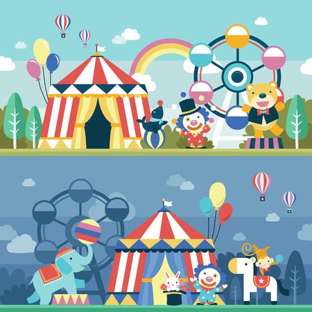 フラットなデザインで素敵なサーカス パフォーマンス シーンを設定  イラスト・ベクター素材