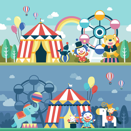 lovely circus performance scene set in flat design