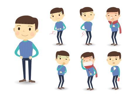 enfant malade: divers symptômes de maladie en style cartoon, isolé, sur fond blanc Illustration