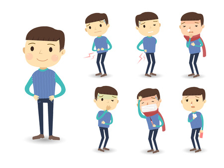 personas enfermas: diversos s�ntomas de enfermedad en estilo de dibujos animados aislados sobre fondo blanco Vectores