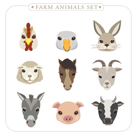 adorable farm animals set in flat design Vector