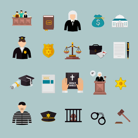 judgment: law and judgment concept flat icons set over blue Illustration