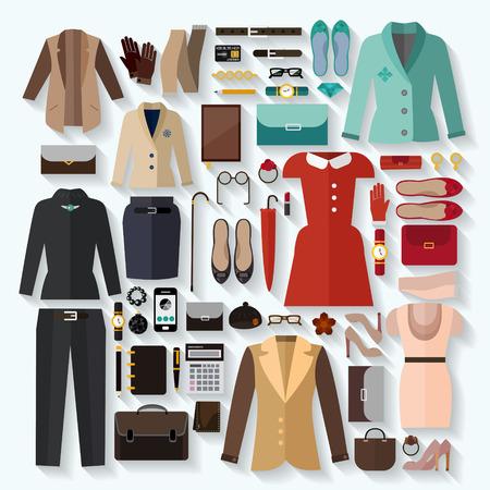 businesswoman skirt: fashionable women clothes icons flat set over white background Illustration