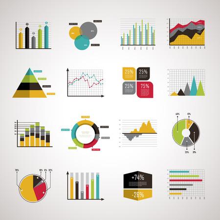 market: business data analyze elements set in flat design Illustration