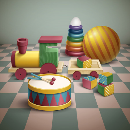 shop floor: exquisite colorful toys set isolated on floor